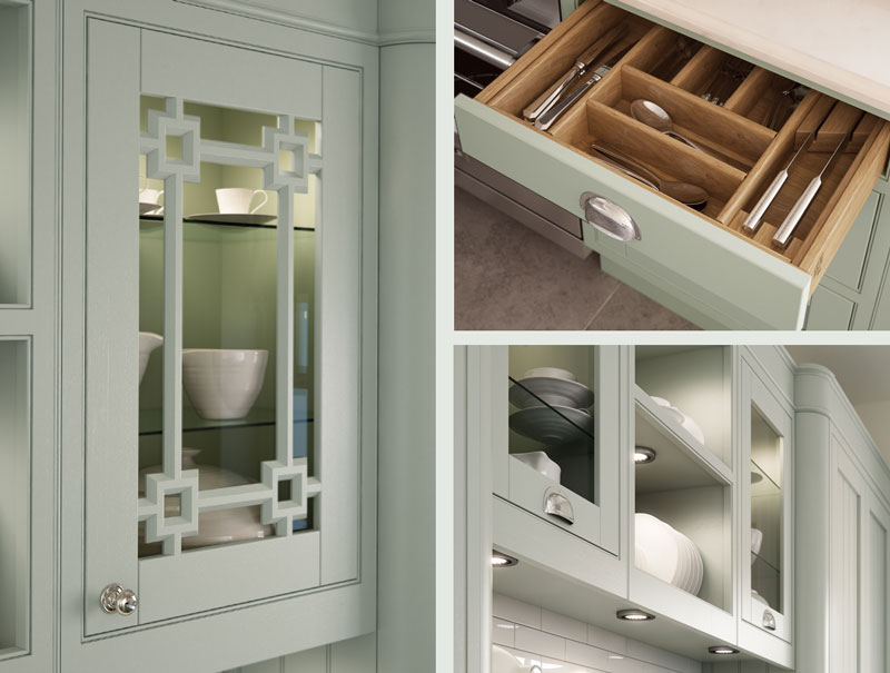 Close up kitchen design detail of glass doors and drawer internals